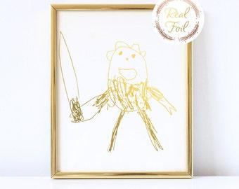 Custom Gift For Her Gold Foil Print Kids Drawing to Parents Grandparents Kids Artwork Children's Decor Children Art Print Foil Print