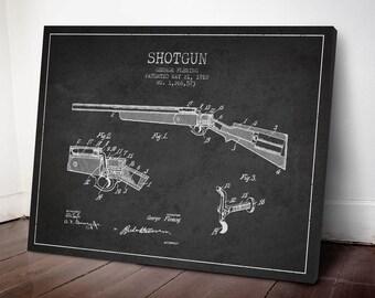 1918 Shotgun Patent Canvas Print, Shotgun Print, Shotgun Decor, Patent Art, Wall Art, Home Decor, Gift Idea, WE04C