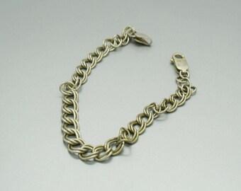 Sterling Bracelet Silver Bracelet Double Link Bracelet  Charms Bracelet