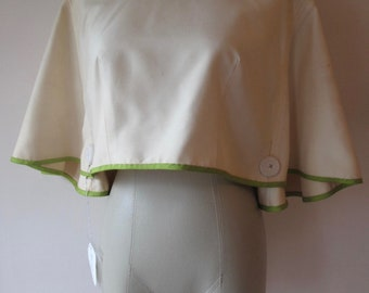 1960s White Capelet with Green Piping