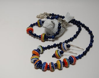 Antique Blown Glass and Lapis
