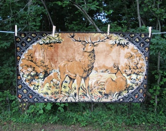 Deer Tapestry Vintage Italy Wall Hanging Stag Lodge Cabin Decor Italian