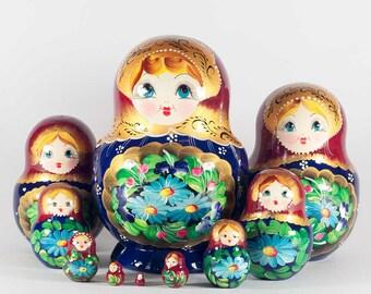 Matryoshka Nesting Doll Blue Chamomiles 10 pieces set