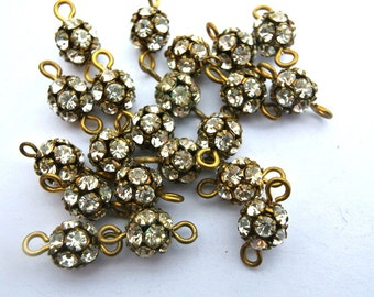 2 Vintage Swarovski connector ball BEADS clear crystal 8mm rhinestones in brass setting