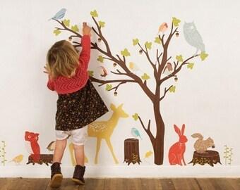 AUF Verkauf Fabric Wall Decal - Woodland Szene Retro (wiederverwendbar) Nr. PVC