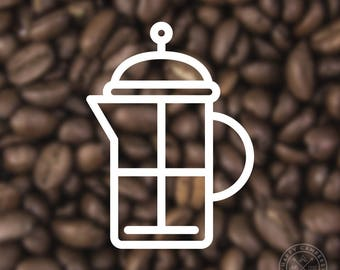 French Press Coffee Icon Vinyl Decal | Water Bottle Decal | Car Window Decal | Laptop Decal
