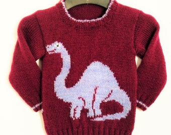 Knitting Pattern for Sweater with Dinosaur, Jumper Knitting Pattern for Boys and Girls with Dinosaur, Apatosaurus knit, Digital download pdf