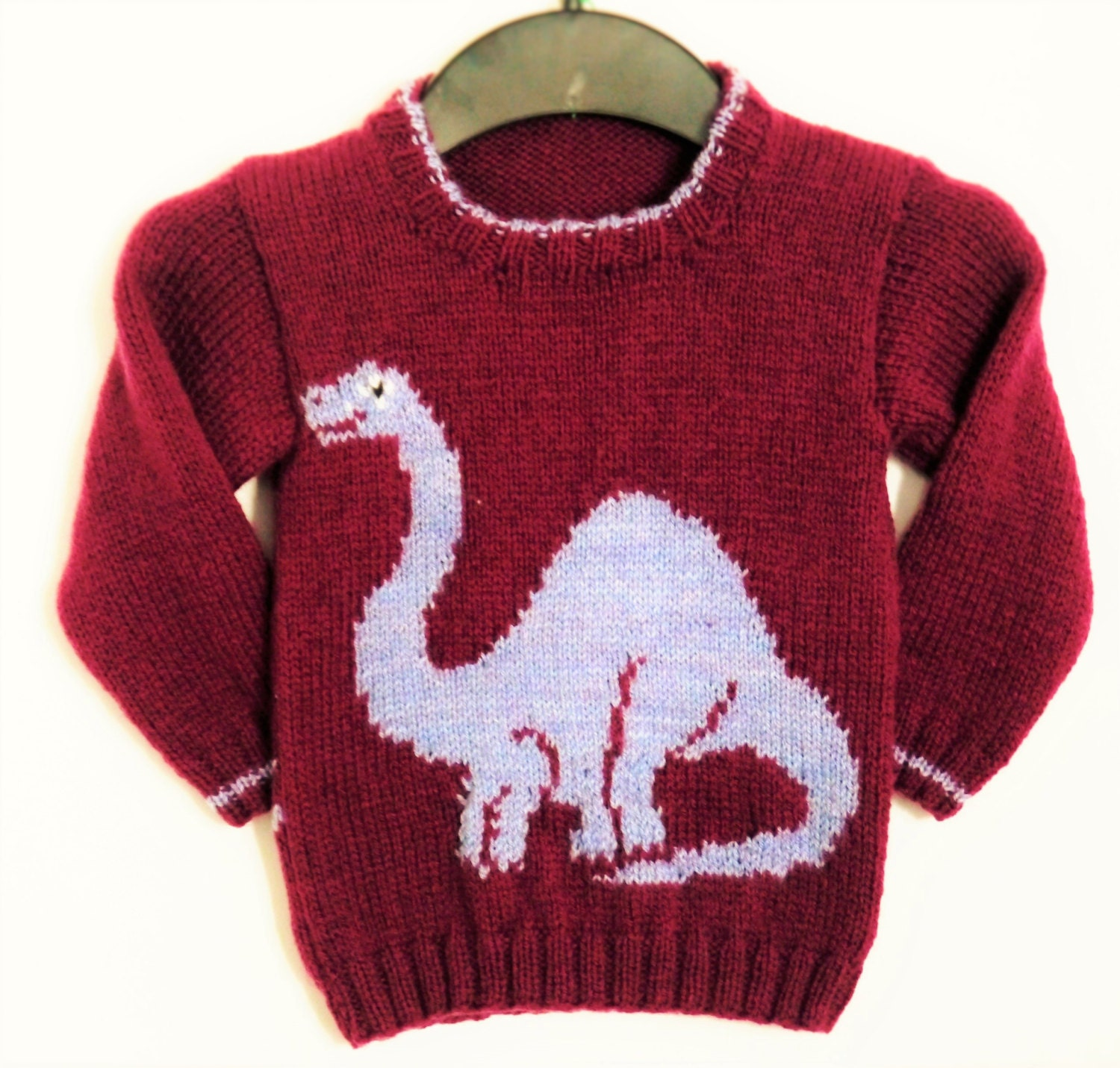 Knitting Pattern for Sweater with Dinosaur, Jumper Knitting Pattern ...