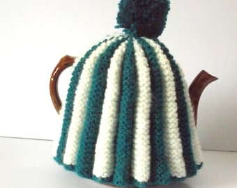 Handknit Tea Cosy, Pleated Tea Cosy, Teal Green and White Tea Cozy, Washable Acrylic Yarn, Six Cup Teapot Cozy, Vintage Tea Cozy #145