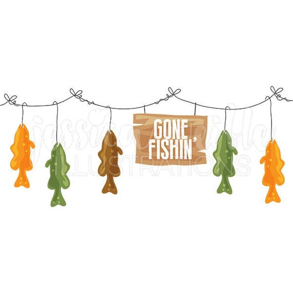 gone fishin trout line cute digital clipart fish on a line rh etsy com gone fishing clipart free Hunting and Fishing
