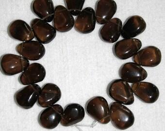Quartz, Smoky Quartz, Quartz Drops, Smooth Drops, Natural Stone, Dark Brown Drop, Semi Precious Drop, Full Strand, 20 mm, AdrianasBeads