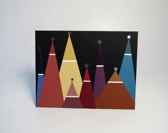 Handmade greeting card - Abstract Christmas trees - Rainbow trees - Simple Christmas card