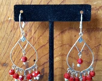 Blood Red Czech Glass Sterling Silver Chandelier Earrings