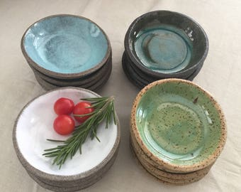 Set of Bowls, Small Dipping Bowls, Set of 4 Serving Bowls, Shabby Chic Bowls, Kitchen Bowls, Gift Serving Set, Rustic Pottery, Ceramic Ware