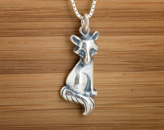 STERLING SILVER Sitting Fox Charm Necklace or Earrings - Chain Optional