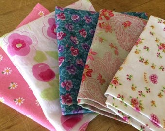 Kids Cloth Napkins School Lunchbox, Set of 5, Pretty PINK Colors, Perfect for Little Girls, by CHOW with ME