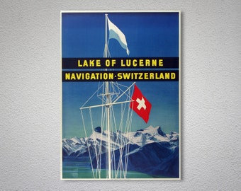 Lake of Lucerne Switzerland Travel Poster - Poster Print, Sticker or Canvas Print / Gift Idea