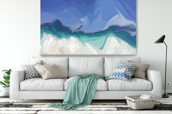 "The Shades of Blue Abstract 3, Abstract Painting Modern Wall Art Painting Canvas Art Print Art Modern White Blue up to 80"" by Irena Orlov"