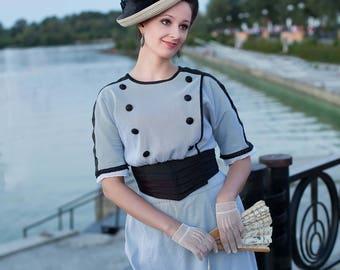 Edwardian Walking Dress, 1910 Seaside Walking Costume