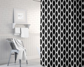 Black and White Ikat Shower Curtain, Girls Bathroom Decor, Bath Curtain for Girls, Fabric Shower Curtain, Standard or Extra Long