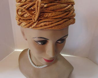 Vintage Pill Box Hat Mid Century Hat Apricot Color Hat Woven Fiber Cord Exclusive by Sheppard Carson Pirie Scott Union Label Summer Hat