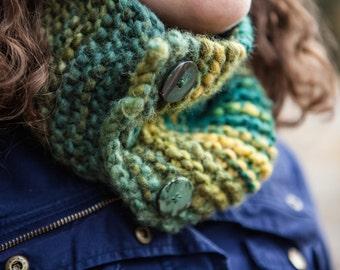 Green Chunky Knit Cowl; OOAK