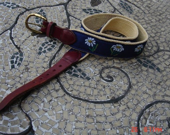 Vintage Canvas and Leather Daisy Belt - Sweet