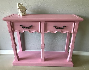 Vintage Shabby Chic Pink Accent Table