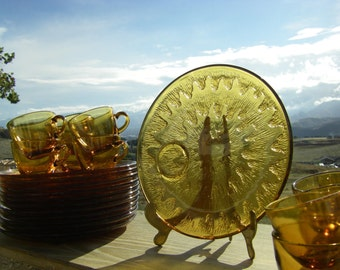 Indiana Glass Company 'Sunburst-Amber' Snack Plate and Cup Set, 12 Sets
