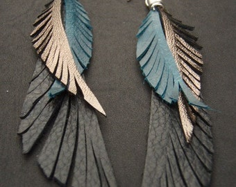 Leather Feather Earrings - blue black and gold long earrings