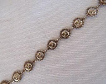Vintage Lightweight Sterling Silver 925 Sun Face Link Bracelet