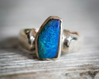Boulder Opal Ring Size 7.5 - Natural Opal Ring - Opal and Sterling Silver Ring - Ring size 7.5 - October Birthstone Ring - Boulder Opal
