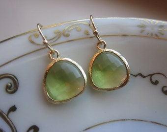 Peridot Earrings Apple Green - 16k Gold Plated Glass Earrings - Bridesmaid Earrings - Wedding Earrings - Valentines Day Gift