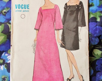 """Vogue Sewing Pattern - 1967 - Woman's Evening Dress in two lengths - Size 14  bust 34"""" - Mpn 7159 - Unused and factory folded"""