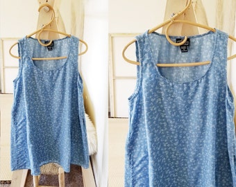 Vintage Chambray Denim Sleeveless Blue Floral Jumper Sundress/Boho/Umbrella dress