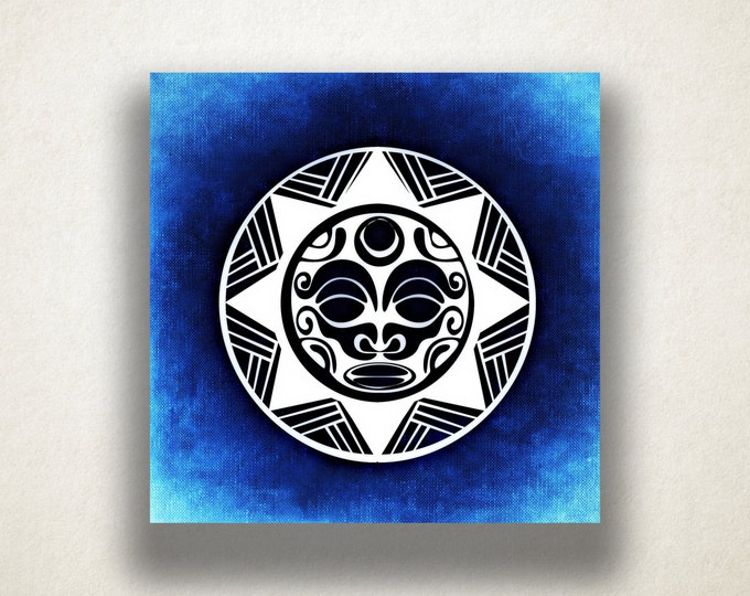 Aztec Tribal Sun Canvas Art Print, Tribal Design Wall Art, Sun Canvas Print, Artistic Wall Art, Canvas Art, Canvas Print, Home Art, Wall Art