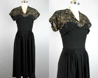 Vintage 1940s Black Rayon Dress with Sheer Lace Illusion Neckline and Beading Detail 40s Cocktail Dress Size M 29 Waist