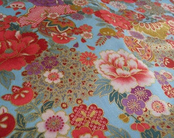 Fabric flower pattern collection Matsubotan background blue-50 cm