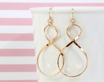 Rose Gold Infinity Earrings ,Rose Gold Earrings, Infinity Earrings,Bridesmaid Earrings-2012