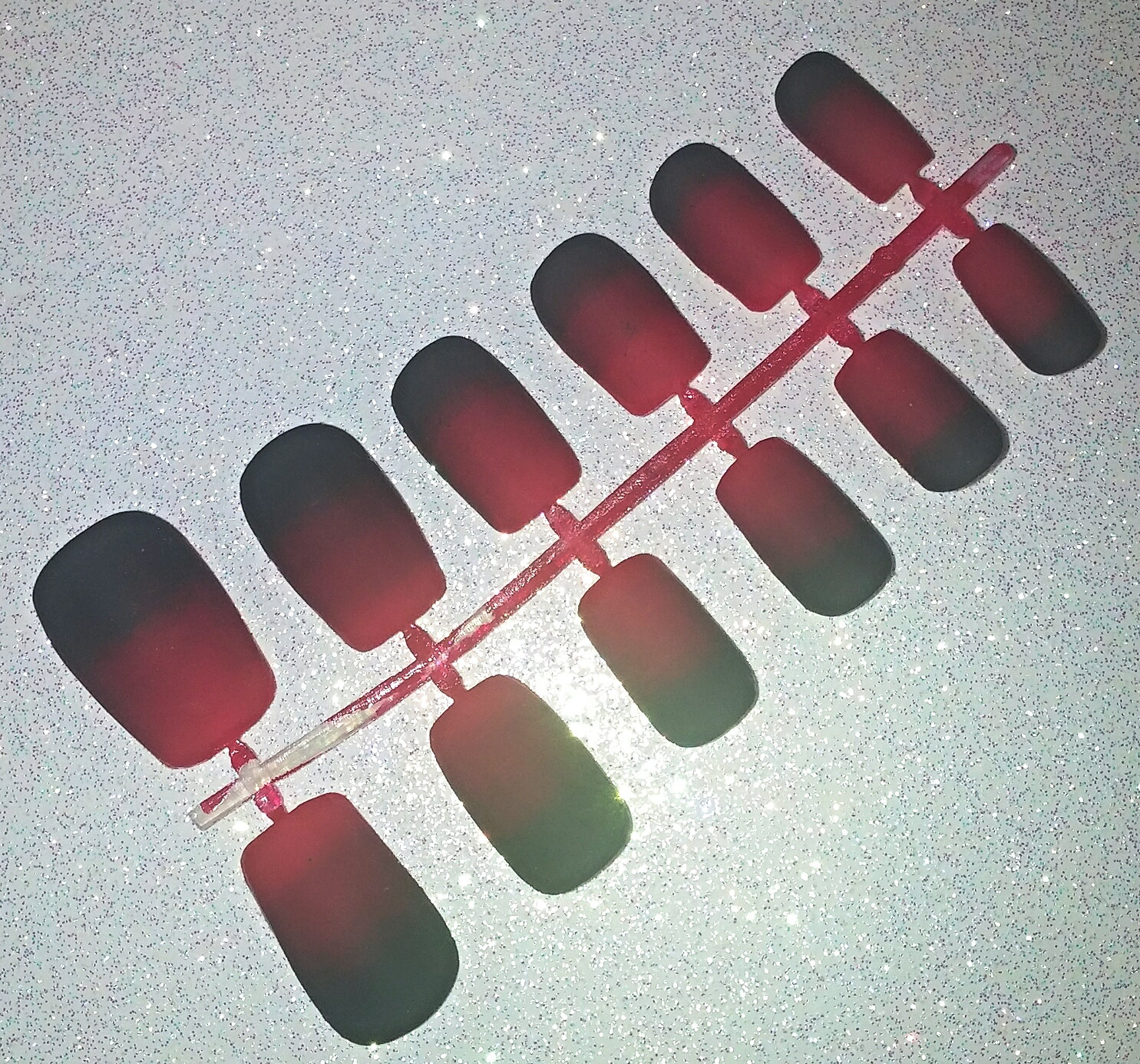 Black and Red Ombre Fake Nail Set- Press on Nails- Glue on Nails ...