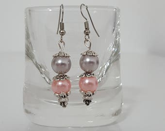 Glamorous earrings with pink and grey acrylic beads