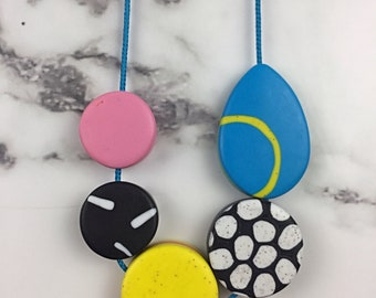 Quirky necklace - POP colour - bold jewellery -Polymer clay necklace - graphic jewellery -  geometric - one of a kind - adjustable length