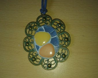Japanese pebbles and glass mosaic pendant