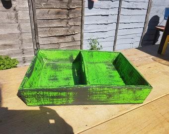 Distressed green desk tidy