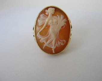 10k Cameo Ring, Lady Dancing Cameo Ring, Cameo Jewellelry