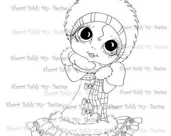 INSTANT DOWNLOAD Digital Digi Stamps Big Eye Big Head Dolls Digi  My - Besties  Winter Wonderland Blushing Besties By Sherri Baldy