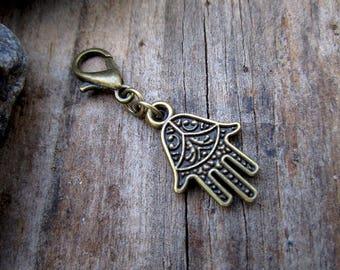 Bronze Hand of Fatima Charm - Midori Charm - Fauxdori Traveler's Notebook Charm