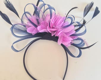 Navy Blue Hoop & Lilac Purple Feathers Fascinator On Headband