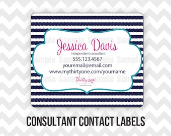 Thirty-One Consultant Contact Labels Printable Direct Sales MLM - Print on Avery 5264