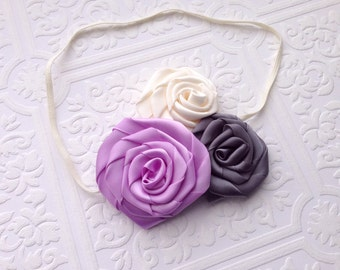 The Lavender, Gray, and Ivory Sweetie Trio Headband or Hair Clip